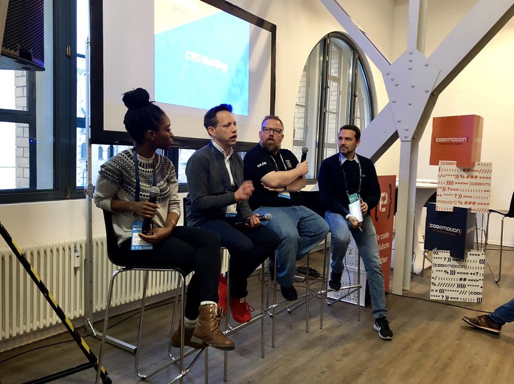 CTO Panel - Event organized by Codemotion. Spoke as CTO (interim) of LegalOS alongside Thomas Holl (Babbel, CTO) and Alessandro Cinelli (DAZN, Engineering Manager) to full room of CTOs, Tech Leads, and Engineering ManagersBerlin, Germany. November 2018[cto, management, startups, tech]