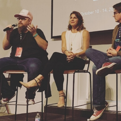 Christian (left) speaking on a panel of episodic creators at the 2018 Independent TV Festival in Vermont