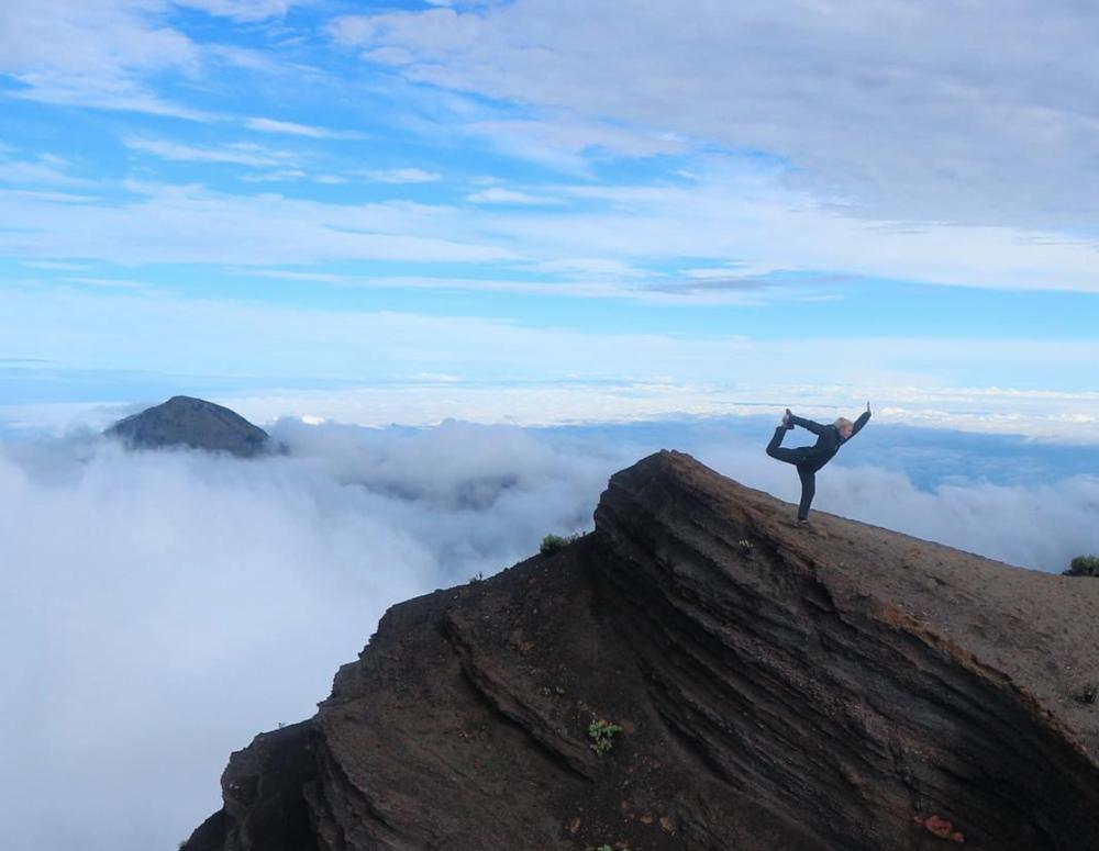 Dancing at the top of  Mt. Rinjani  - Lombok, Indonesia