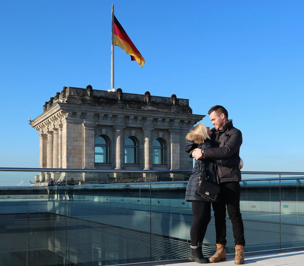 Trying to stay warm in  Berlin, Germany
