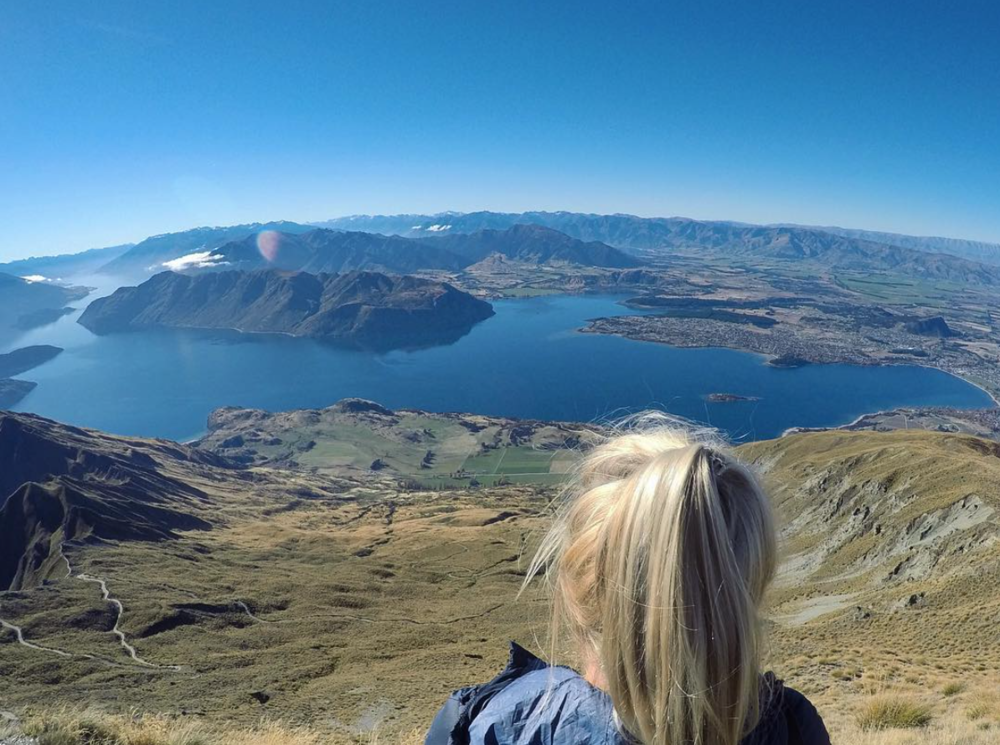 Catching my breath at the top of  Roy's Peak, Wanaka, NZ