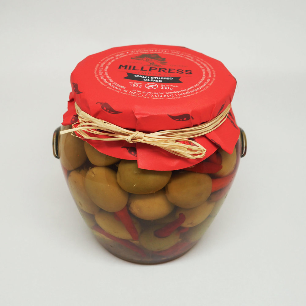Red Chilli Stuffed Olives - Product Of Spain