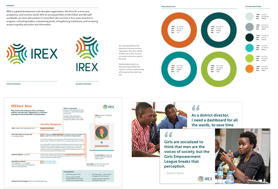 Top:  IREX's redesigned logo and color palette.  Bottom left:  Guidelines for creating staff bios on irex.org.  Bottom right:  Two of our social media templates.