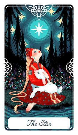 HUMAN DESIGN X TAROT - Gate 55 is represented in Tarot by The Star. This card symbolizes a spiritual trust in abundance, miracles, hopes, happiness, dreams and wishes. Even though The Star isn't the end of the journey, having this faith makes her feel as though they already have everything they need.Fairy Tale Tarot by Yoshi Yoshitani