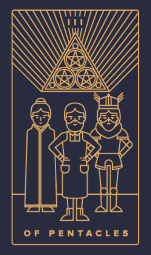 HUMAN DESIGN X TAROT - The Three of Pentacles represents Gate 37 because it's all about different people coming to work together to achieve an end goal. They all work in harmony, appreciating their differences.My personal favorite deck, by Golden Thread Tarot