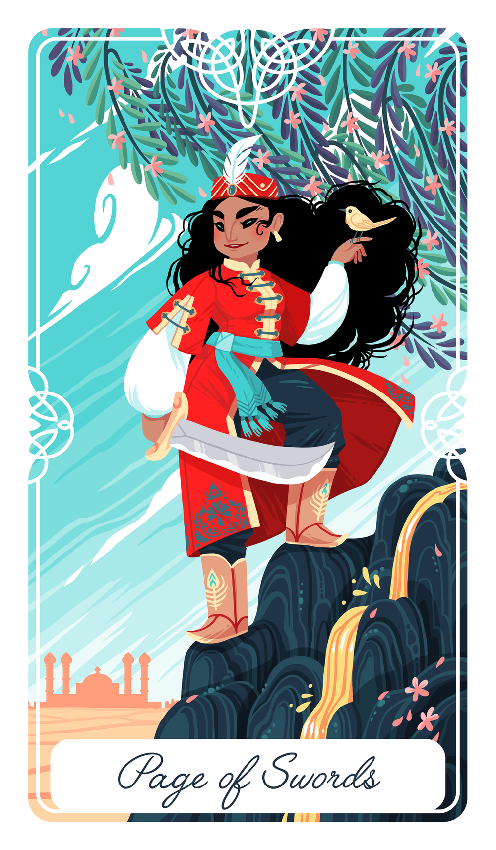 HUMAN DESIGN X TAROT - The always curious and full of new ideas Page of Swords embodies the energy of Gate 17. So ready to jump on the next idea, she first needs to wait for the correct timing.Tarot art: Fairy Tale Tarot
