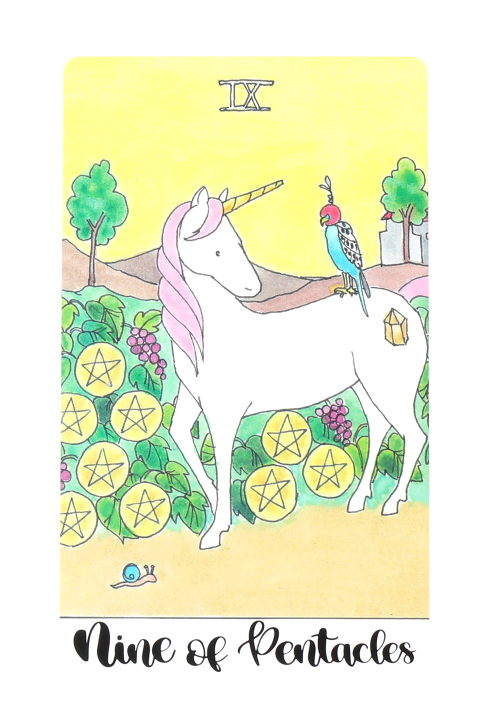 HUMAN DESIGN X TAROT - Gate 42 is represented by the Nine of Pentacles. When you follow your Strategy and Authority to enter into something that's correct for you, you will be able to enjoy the fruits of your labor once you're finished!Deck: Crystal Unicorn Tarot