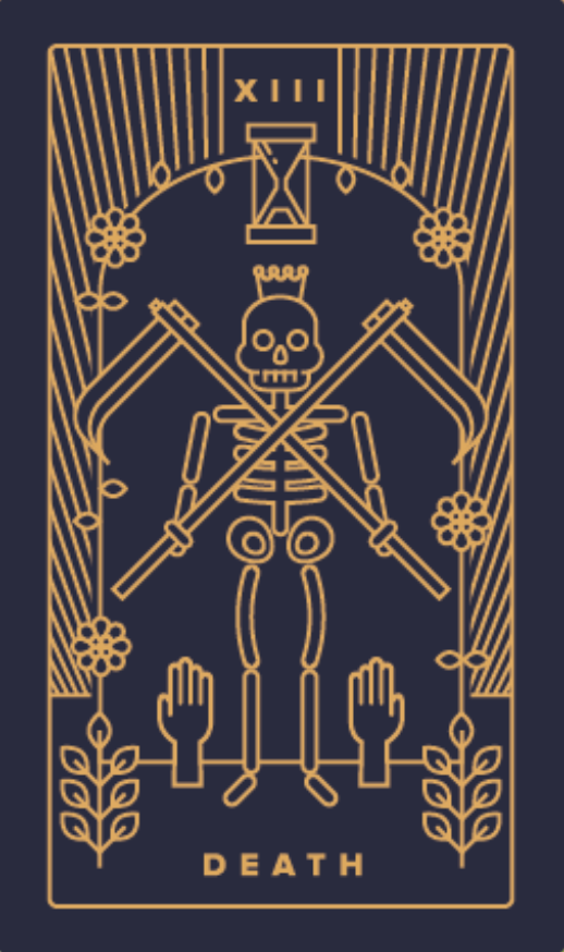 HUMAN DESIGN X TAROT - Gate 3 is expressed through the Death Card. This is one of my favorites in the deck, because it indicates the end of something old so that something new can start to grow. In short, it means transformation.Deck: Golden Thread Tarot