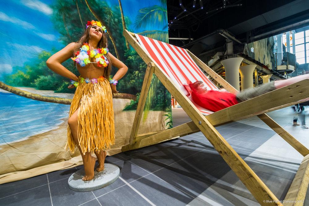 Hawaiian Woman and Deck Chairs