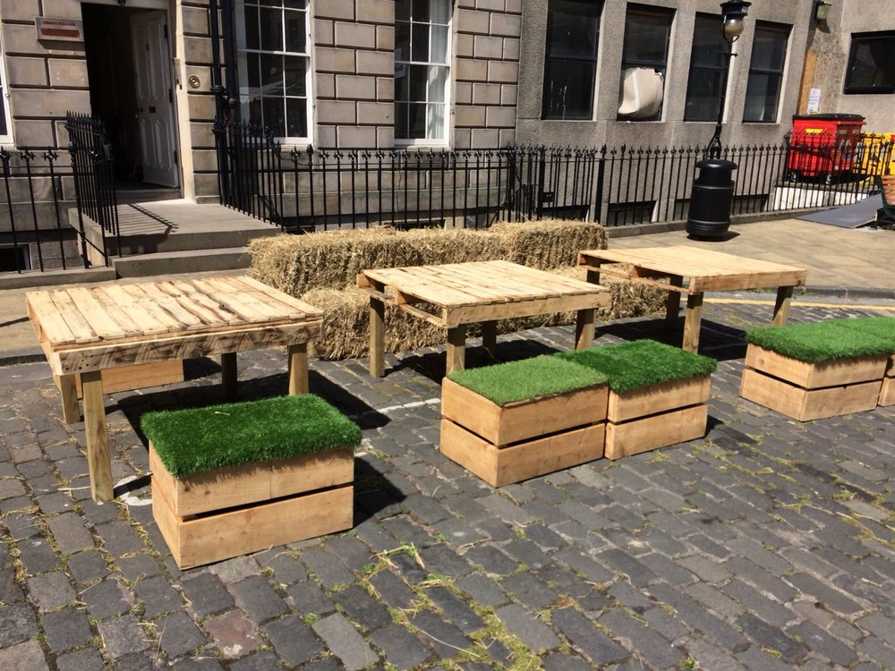 Pallet Tables and Crate Seats