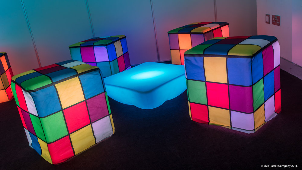 Fabric LED Rubik's cube chairs and LED table