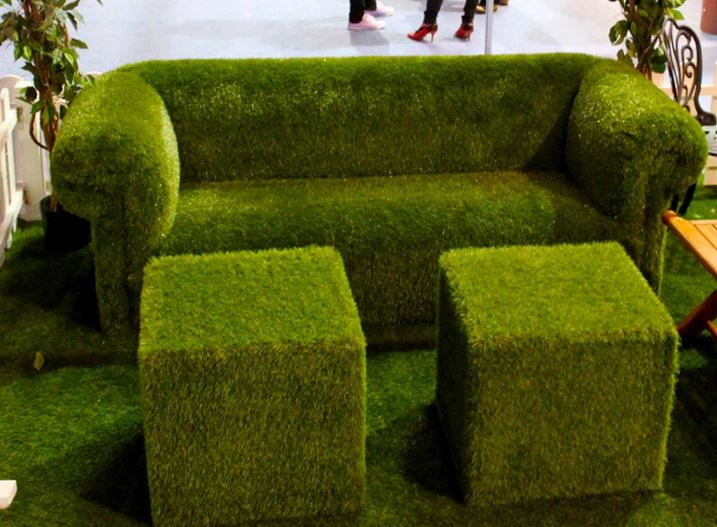 Grass Cubes and Sofa