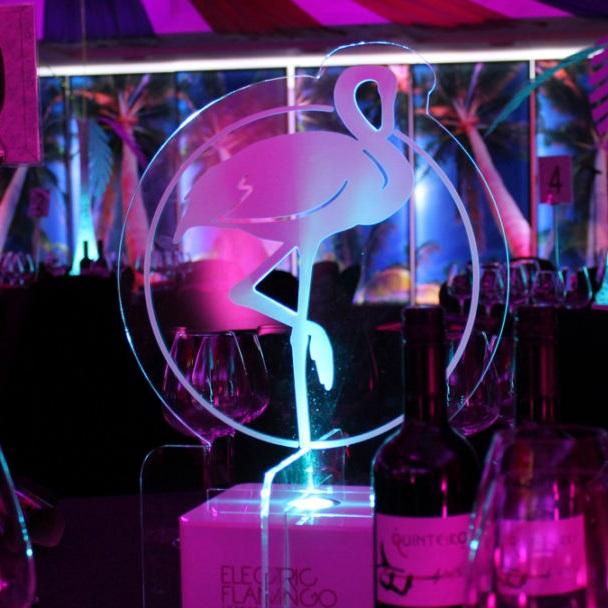Electric Flamingo Table Centre