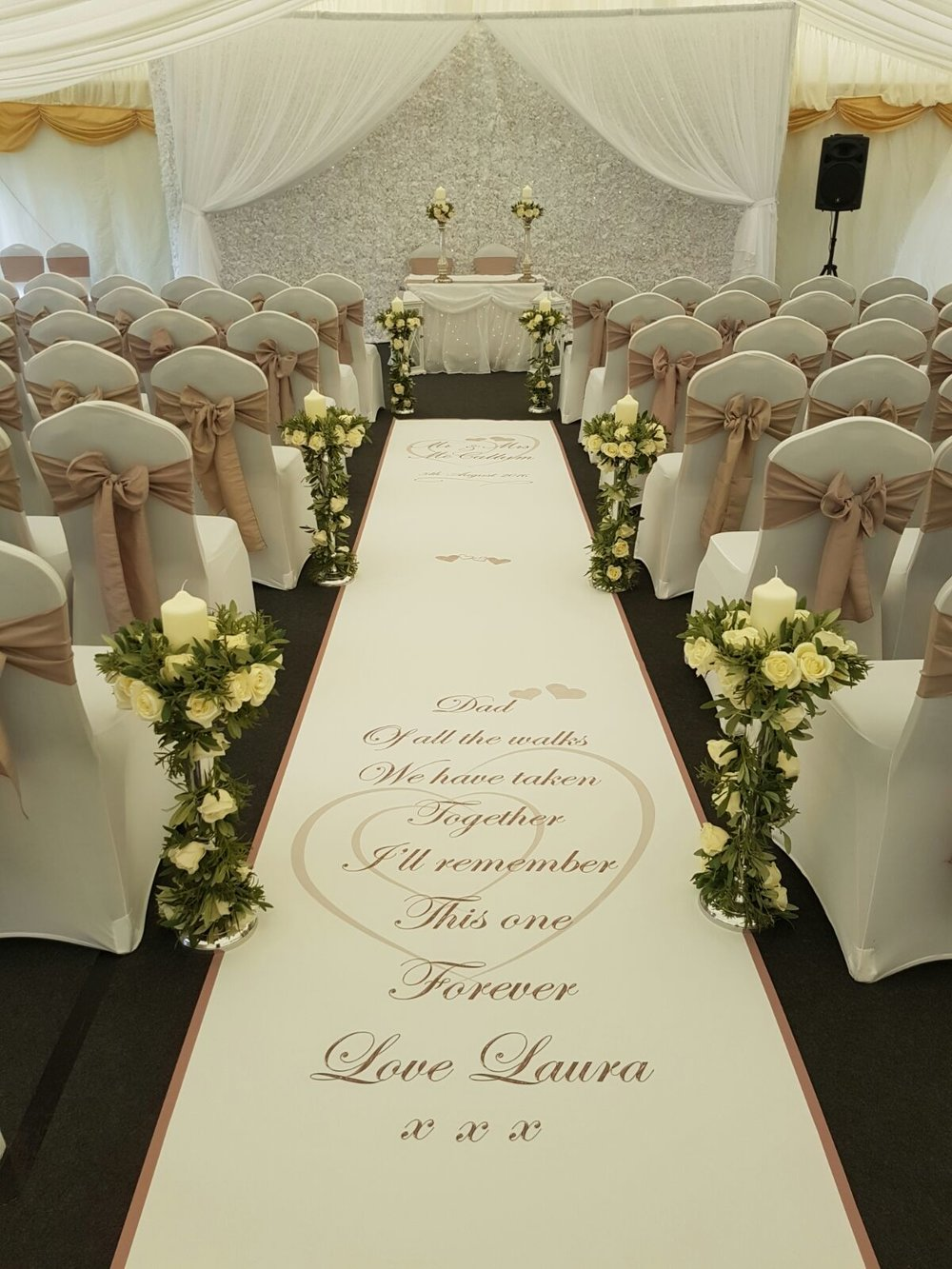 Personalised Aisle Runner and White Flower Wall