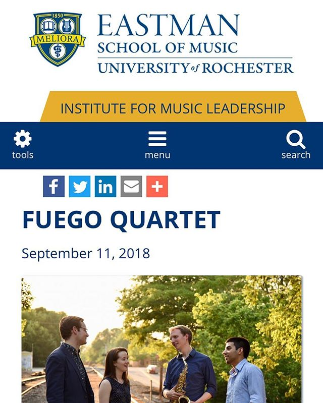 Fuego was recently interviewed by Eastman's Insitute for Music Leadership! ⬇️ https://iml.esm.rochester.edu/spotlight/fuego/ . . . . #music #classicalmusic #chambermusic #saxophone #quartet #leadership #entrepreneur #eastman #esm