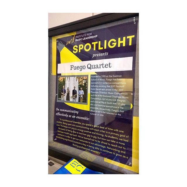We are excited to be this month's featured ensemble of the IML's Spotlight series at Eastman! ————— . . . . . #chambermusic #saxophone #quartet #entrepreneur #classicalmusic #eastman #spotlight