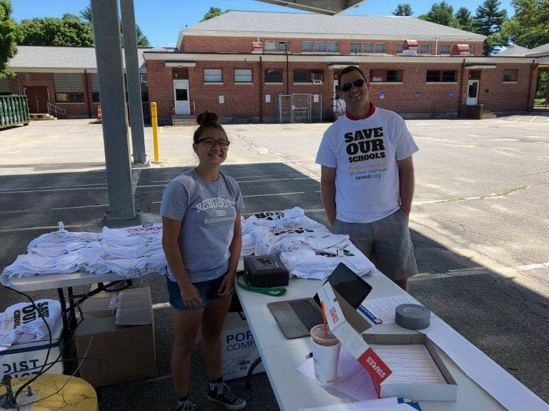 Senior Shea Herman and DRRHS Teacher Tim Warren assist on July 7 canvassing across town and selling merchandise!