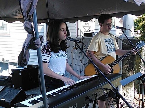 Victoria and Walter Hubley performing at PorchFest Quincy 2016.