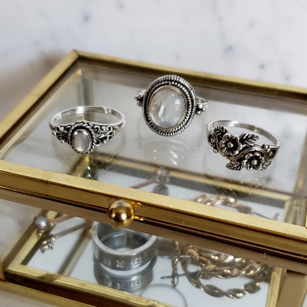 Notice the custom ring I got made with my sorority letters in the gold box below! All the rings displayed here are all from Etsy!