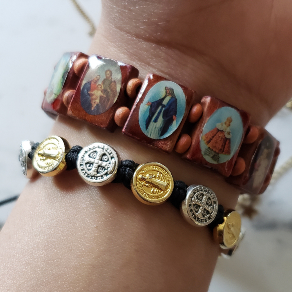 Wood Saint Bracelet (Catholic Store) //  Benedictine Bracelet  My boyfriend actually got me this particular bracelet to match the one I got him for Christmas. It was so sweet of him. Okay, proud girlfriend moment over.