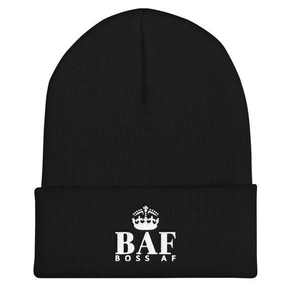 BOSS AF DELUXE CROWN EDITION CUFFED BEANIE - A snug, form-fitting beanie for the BOSS AF maverick. It's not only a great head-warming piece but a BOSS AF fashion statement as well! 100% Turbo Acrylic - 12