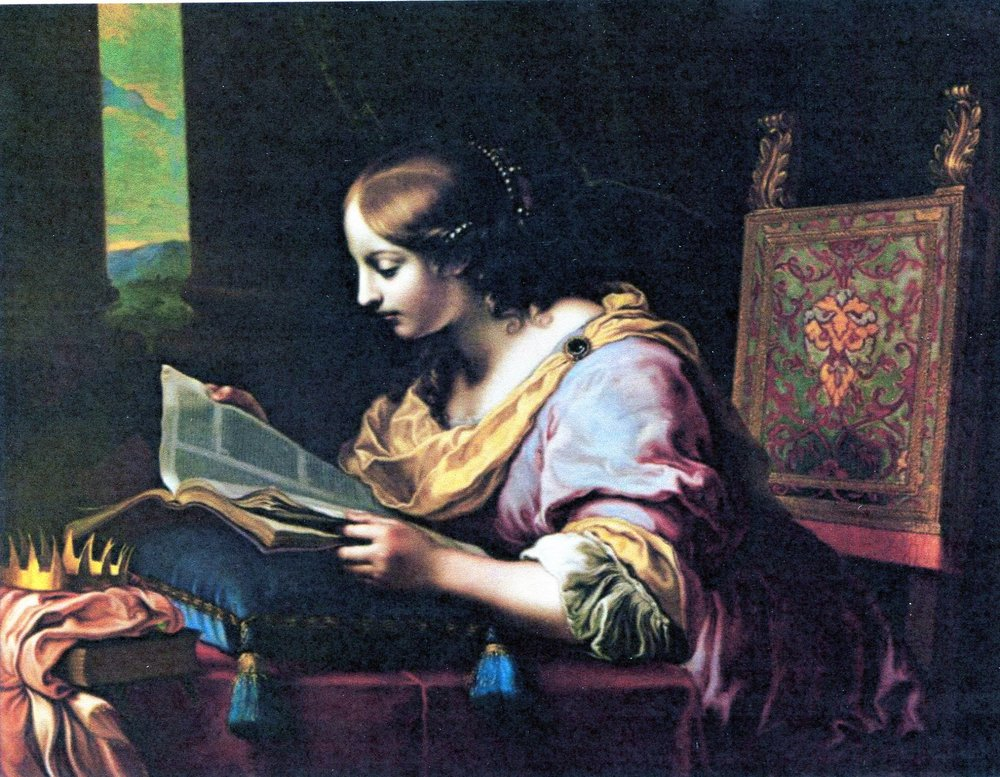 St. catherine reading a book, painting by carlo dolci, 17th century