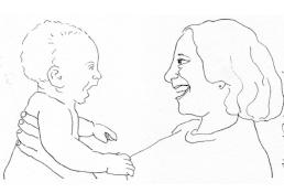 Drawing of Gabriel and Naomi conversing 1975.JPG