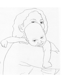Drawing of Gabriel radiant at 3 months 1975.JPG