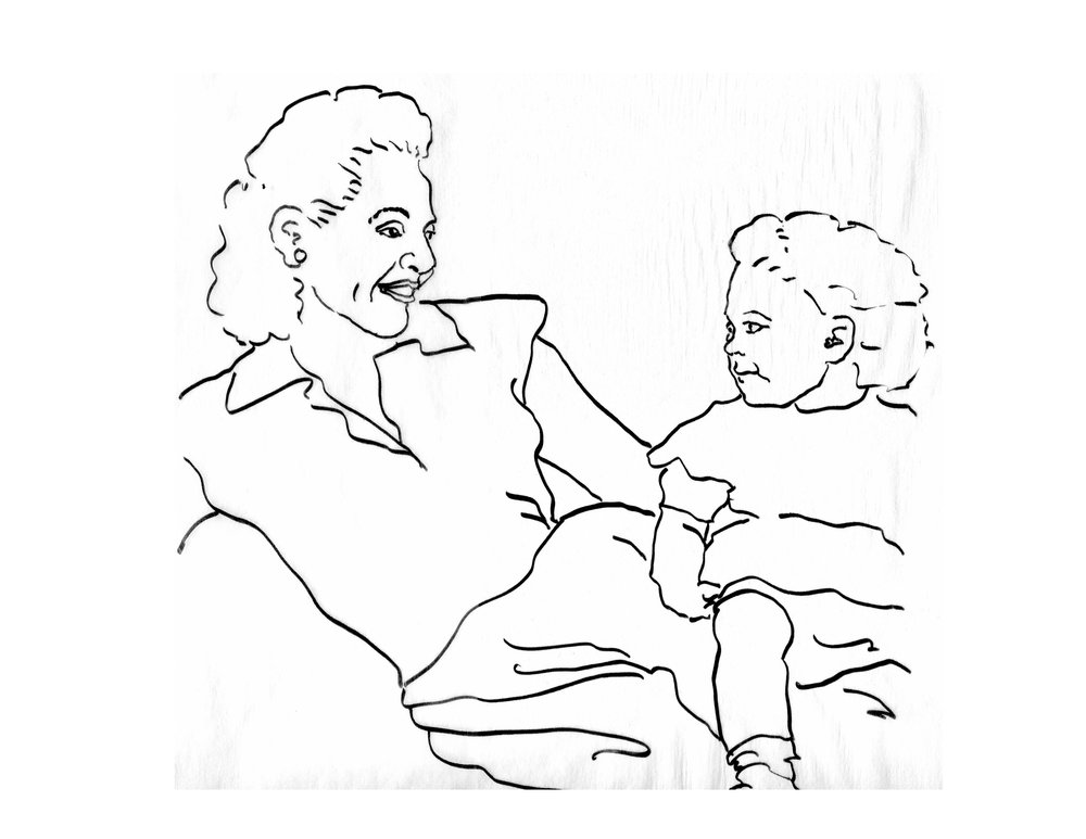 Lily & Naomi, line drawing from photo, jpg.JPG