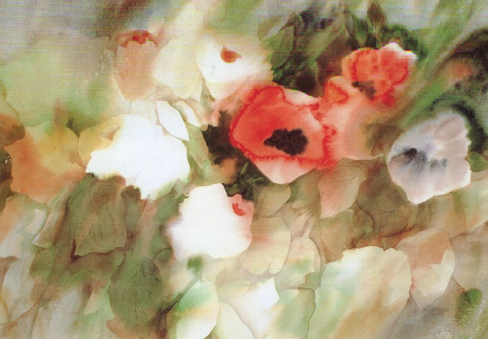 "Here, the artist takes off on a painting of poppies by Georgia O'Keefe, writing: ""While O'Keefe's influence is evvident in the poppy form, the rest of my painting departs from her florals, emphasizing numerous flowers and shapes. -"