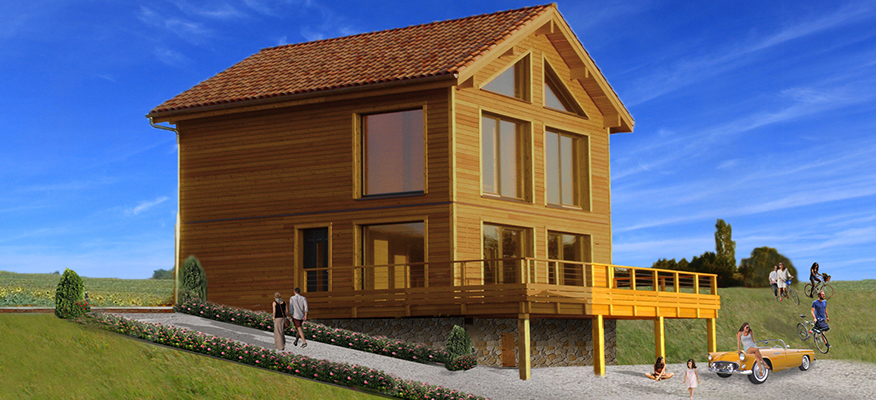 AQUITAINE VISTAS,Tombebœuf, Lot et Garonne - Location: Tombebœuf, Lot et GaronneGuide price from: €295,000 3 BedType: The Larch- ChaletA beautiful wooden house chalet design and well organised floor plan. Spacious chalet, perfect for permanent living or as a luxury holiday house; Light colours combined with wood elements gives modern, yet cosy house interior look. 3 bedrooms and a spacious kitchen connected with a living room, cool in the summer and thermally efficient even in the coldest winters.