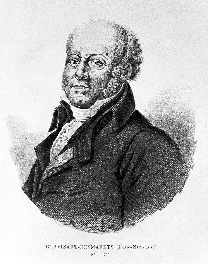 Jean-Nicolas Corvisart (1755-1821) was a French cardiologist whose claims to fame include resurrecting the art of chest percussion, being Napolean Bonaparte's PCP, and being the first person to describe the valvular vegetations of infective endocarditis. Photo reproduced from Wikipedia.