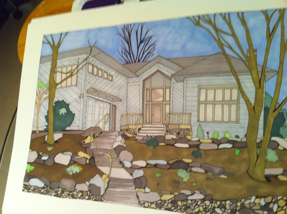Abbi Jacobson  made this amazing drawing of our house upstate for my parents' 30th wedding anniversary. Abbi rocks!!!!