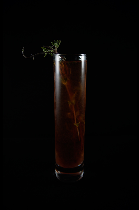 The Witch: A New England Folktale (2015) - 3 oz gin2 oz apple brandy1 oz marjoram syrup1oz forest berry shrub Combine all ingredients in shaker with ice. Garnish with a sprig of fresh marjoram.
