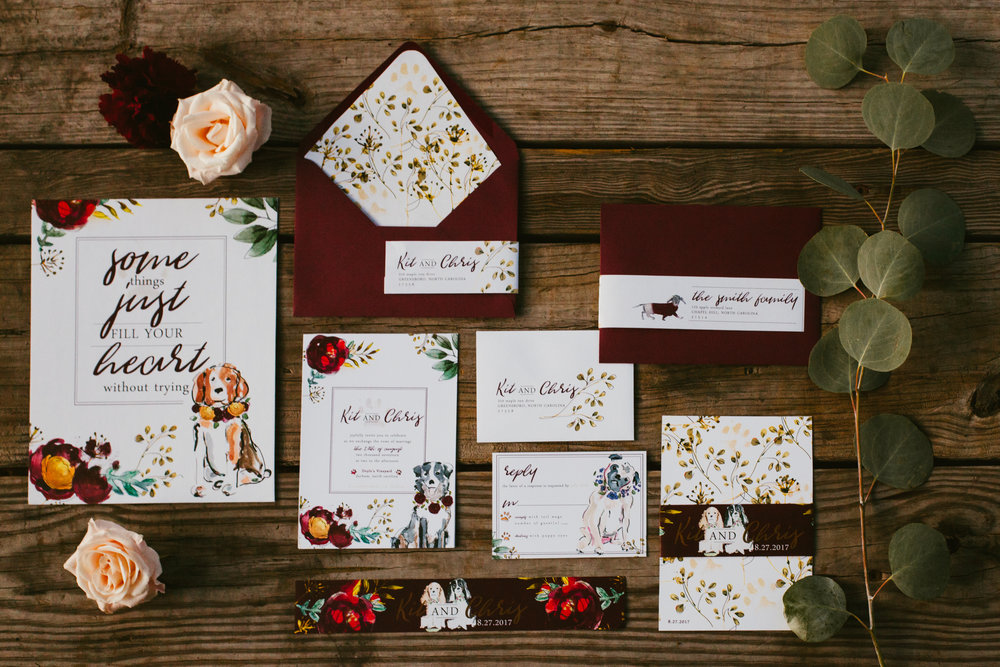 Dog at wedding, floral collar and leash for wedding - rose gold wedding theme, fall wedding - North Carolina Wedding Photographer, Raleigh NC - Revelry + Heart Invitation Suite