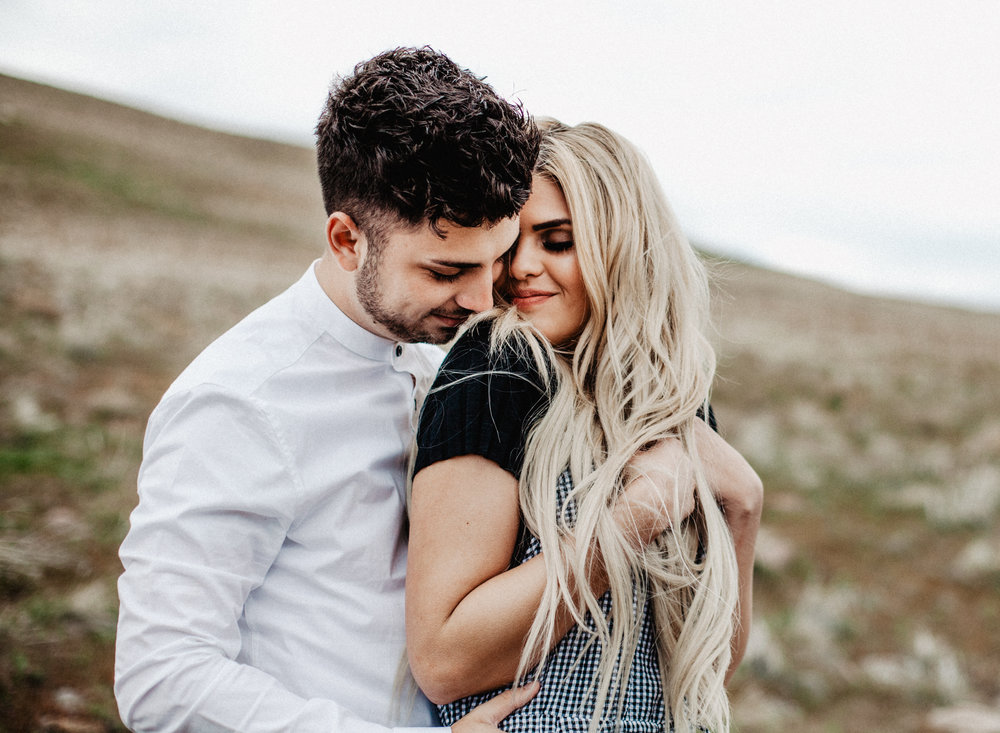 Utah Engagement Session, Hillside engagement photo inspiration, Engagement outfit inspiration, overalls, muted color scheme