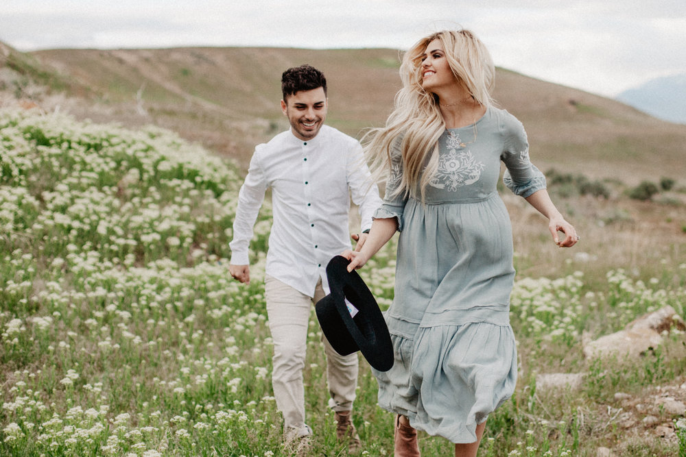 Utah Engagement Session, Hillside engagement photo inspiration, Engagement outfit inspiration, embroidered dress, vintage inspired dress, muted color scheme