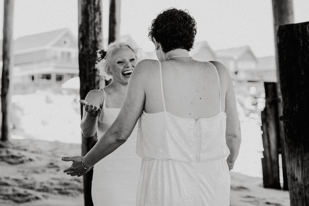 Kitty Hawk, NC Wedding | First Look Photos | Beach Wedding |LGBTQ+ Wedding | Marina Rey Photography