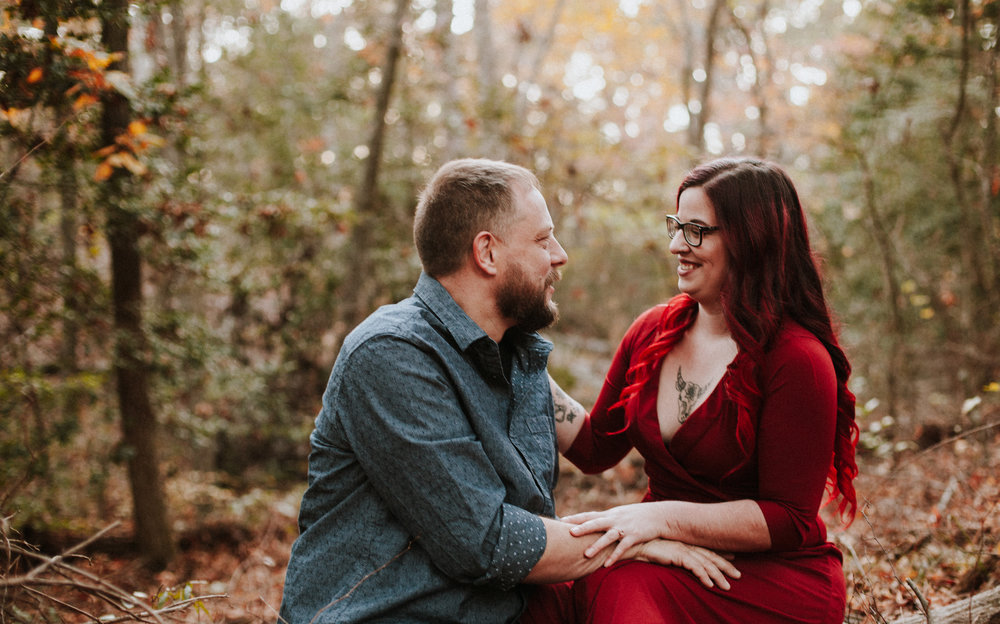 NC Fall Engagement Photo   William B Umstead State Park   Fall Outfit Inspiration   Raleigh NC Photographer