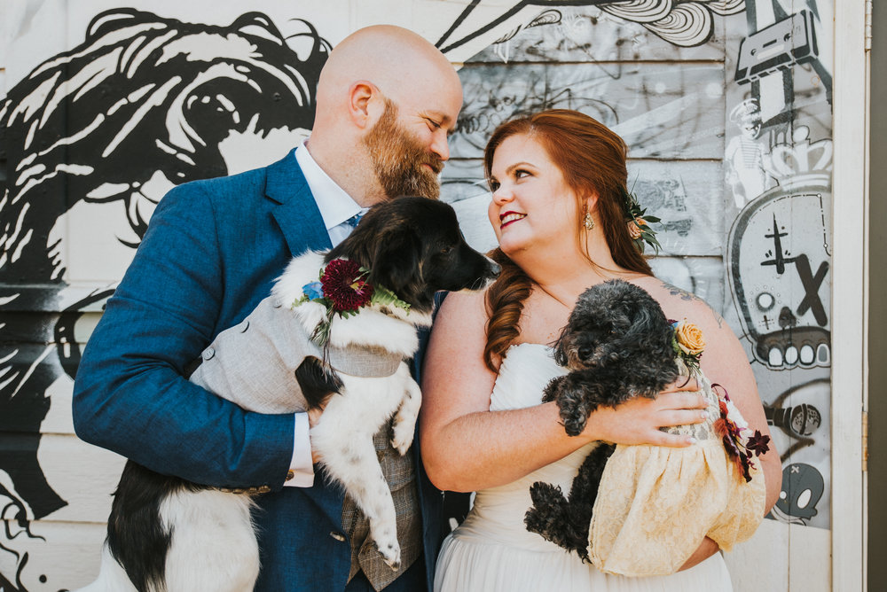NoDa Company Store Wedding, Charlotte NC | Dogs in Wedding | Couples Wedding Photography | Marina Rey Photography