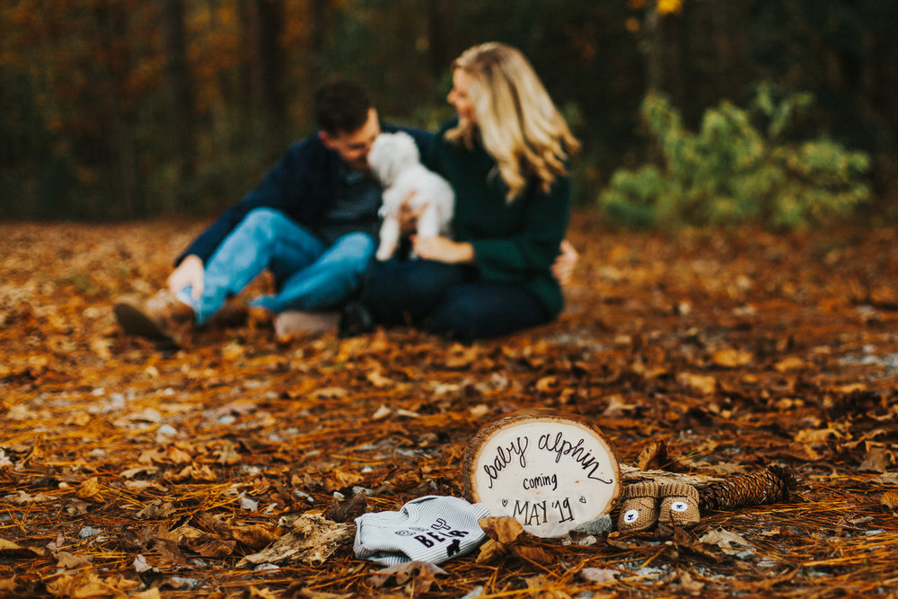 William B. Umstead State Park, Raleigh | Fall Pregnancy Announcement Photos | How to Incorporate Your Dog in a Pregnancy Announcement