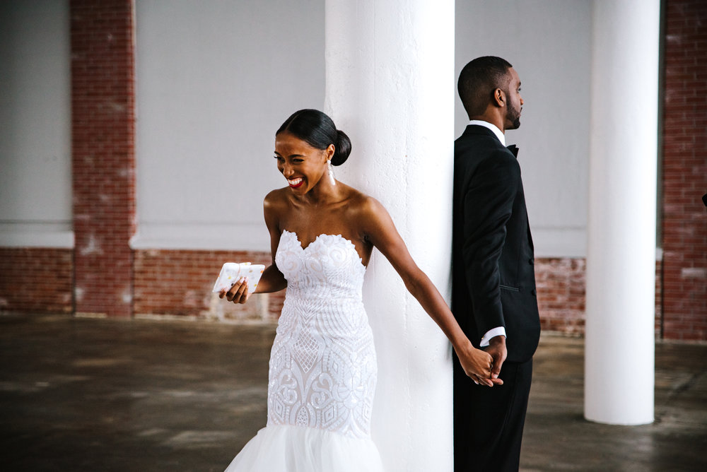 The Lofts at Union Square, High Point, NC. First Touch photos. North Carolina Wedding Photographer, Marina Rey Photography.
