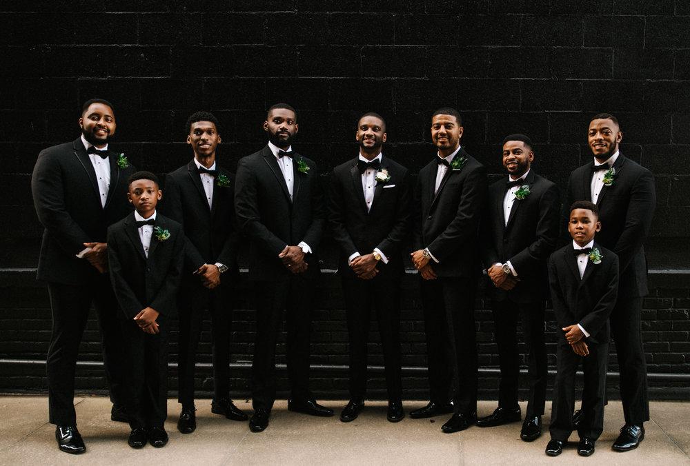The Lofts at Union Square, High Point, NC. Groomsmen photos. North Carolina Wedding Photographer, Marina Rey Photography.
