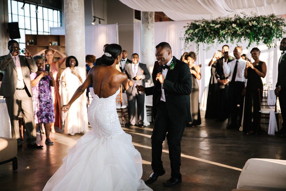 The Lofts at Union Square, High Point, NC. Wedding Reception Photos, Daddy Daughter Dance Photos. North Carolina Wedding Photographer, Marina Rey Photography.