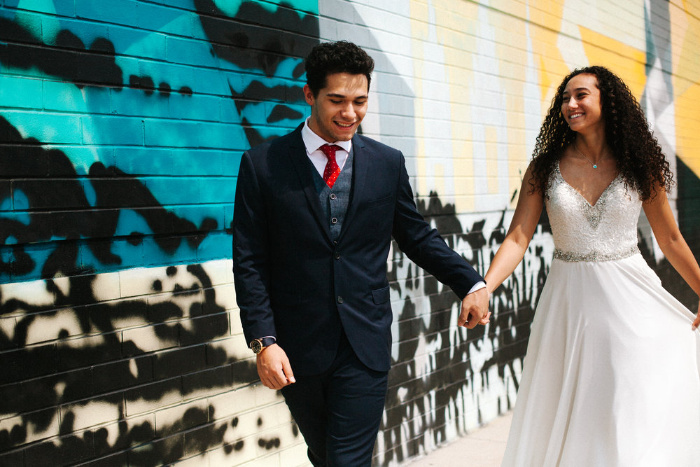 Colorful mural wedding photos | Utah wedding photography, Salt Lake City Wedding Photos | Unique wedding photo | Candid wedding photo | Bright, colorful wedding photography | Marina Rey Photography