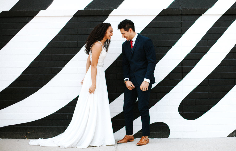 Black and white mural | Utah wedding photography, Salt Lake City Wedding Photos | Unique wedding photo | Candid laughing wedding photo | Bright, colorful wedding photography | Marina Rey Photography