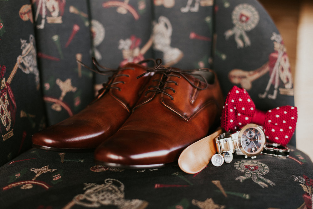 Hope Valley Country Club, Raleigh NC | Fall wedding | Groom's detail photo - Red polka-dot bow-tie, custom cufflinks | Marina Rey Photography