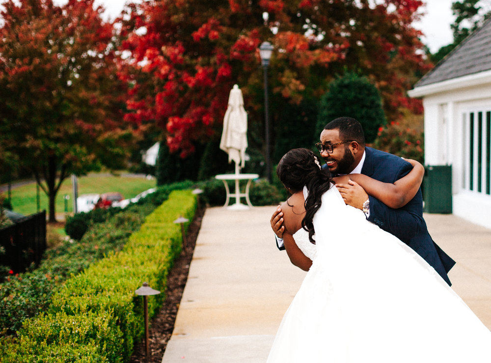 Hope Valley Country Club, Raleigh NC | Fall wedding | First look photos | Marina Rey Photography
