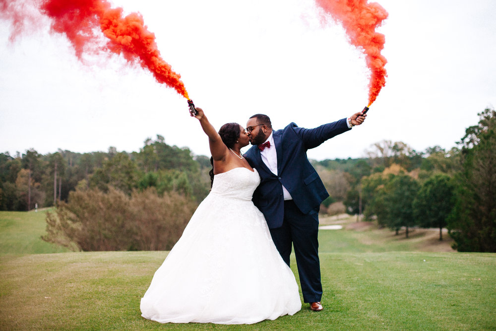 Hope Valley Country Club, Raleigh NC | Fall wedding | Red smoke bomb wedding photos | Marina Rey Photography