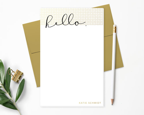 hello dots personalized notepad the gold paperclip